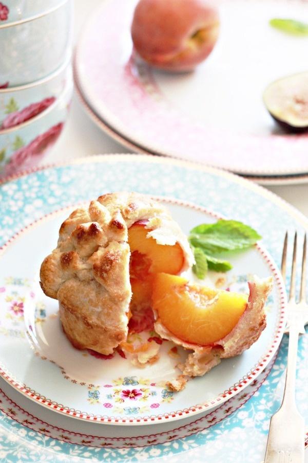 Too cute...individual baked peach pie
