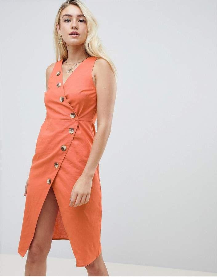 553748f450b ASOS DESIGN linen button through wrap midi sundress