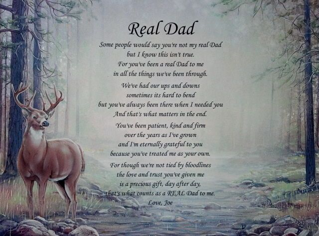 """Real Dad"" Personalized Step Dad Poem Birthday Father's Day or Christmas Gift 