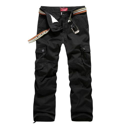 Pantalon Homme Cargo Essential Men Fashion Poches Militaire Noir