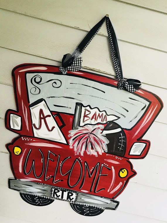 alabama truck door hanger // roll tide // alabama football +all hangers will be hung with wire and or coordinating fabric/tulle/ribbon. all hangers has been sanded, primed, and sealed. +all of my signs/door hangers are painted with acrylic paint and I often use pop paint to highlight