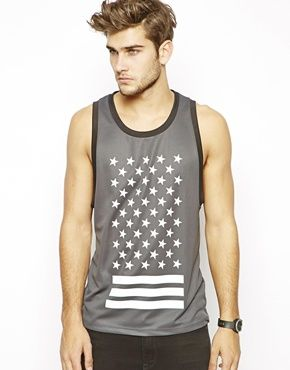 ASOS Basketball Vest With Stars And Stripes Print