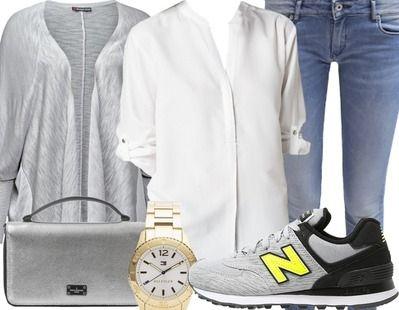 Een mooie casual look voor een dagje weg met de vriendinnetjes. Het lichte grijze vest in combinatie met de witte blouse zoregn voor een fris effect. De sneakers zijn perfect voor een dagje veel lopen.