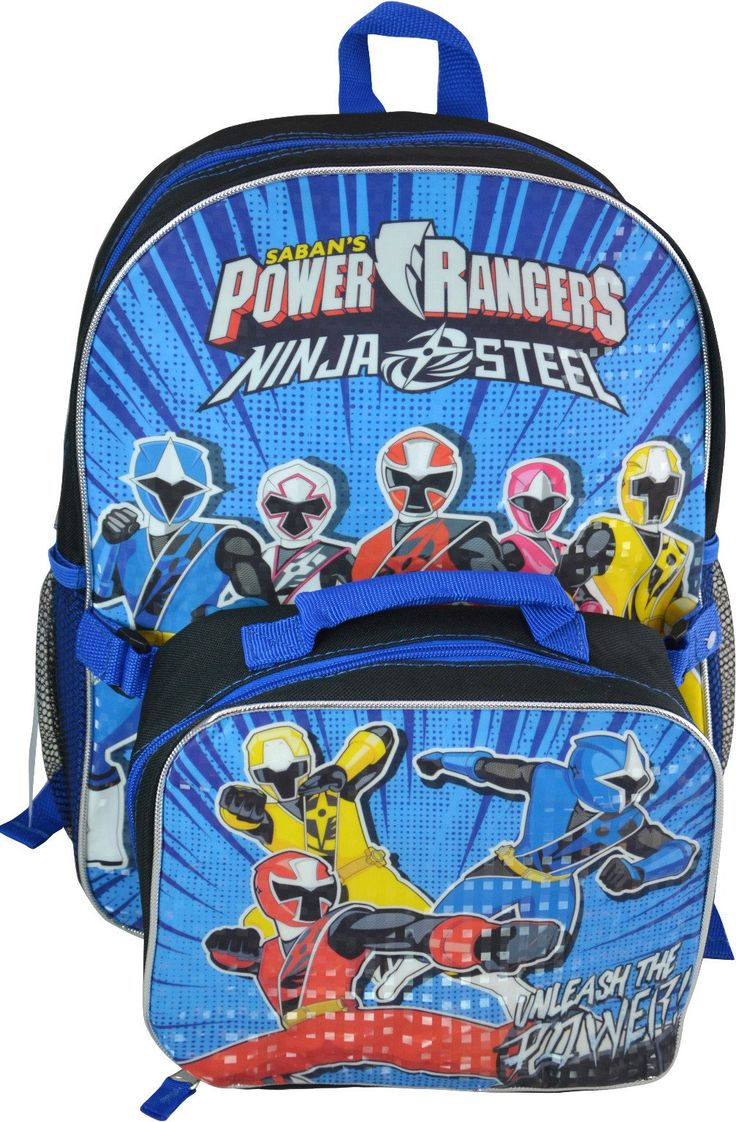 "Power Rangers 16"" Backpacks w/ Lunch Kit - 48 Units"