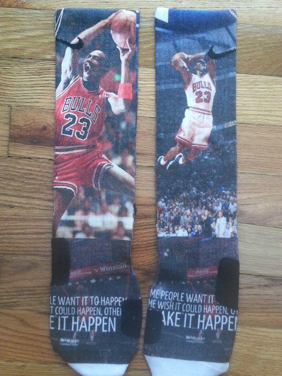 michael jordan make it happen custom nike elite socks by FreshFeet