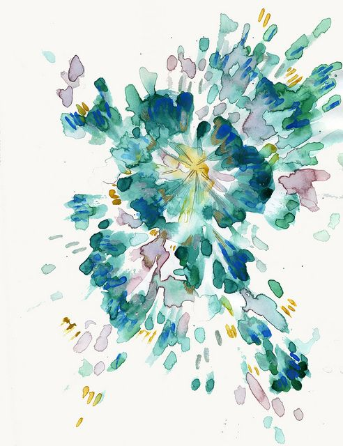 Blue  Green Abstract Watercolor (looks like a flower to me)
