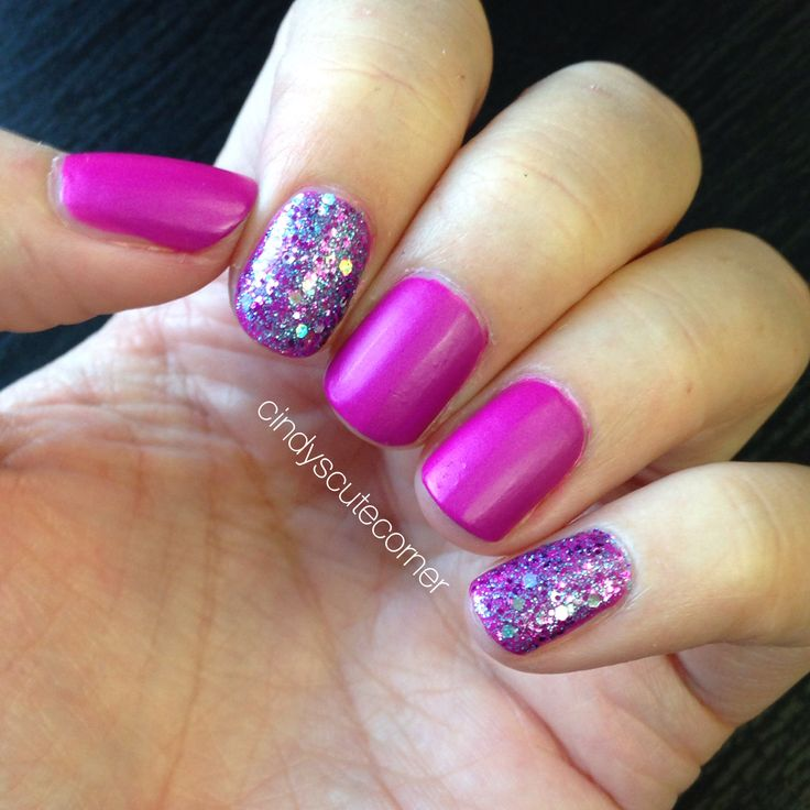 Gorgeous Purple and Glitter Nails. Simple Nail Design.