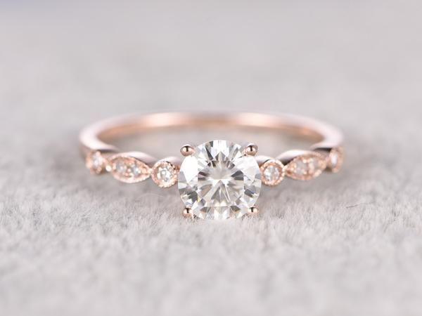 brilliant Moissanite Engagement ring Rose gold,Moissanite wedding band,14k,5mm Round Cut,Gemstone Promise Bridal Ring,Anniversary,Art Deco