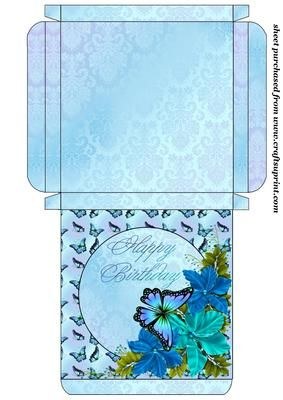 Blue floral birthday card box on Craftsuprint designed by Stephen Poore