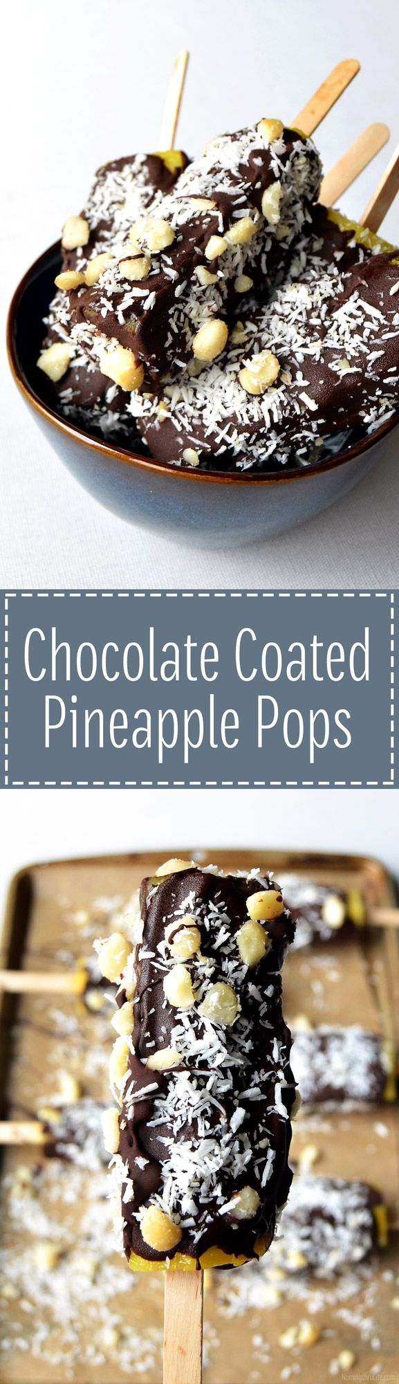 Chocolate Coated Pineapple Pops – The perfect healthy frozen treat that can be easily customized and is super simple to make! | RECIPE at NomingthruLife.com