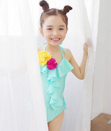 Ems DHL бесплатная доставка малыш девушки Ruffels одна часть детей пляжная одежда для новорожденных девочек цветок купальник 2 цветов
