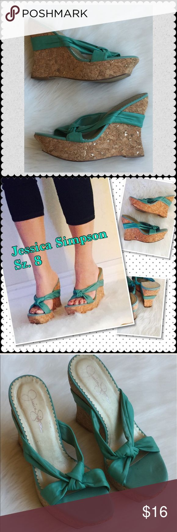 Jessica Simpson cork wedge platforms 8 Jessica Simpson  Wedge platform shoes sandals, cork is a mix of brown with bits of gold, very pretty! Sz 8  Teal top cork wedge Gently used condition  No trades Jessica Simpson Shoes Platforms