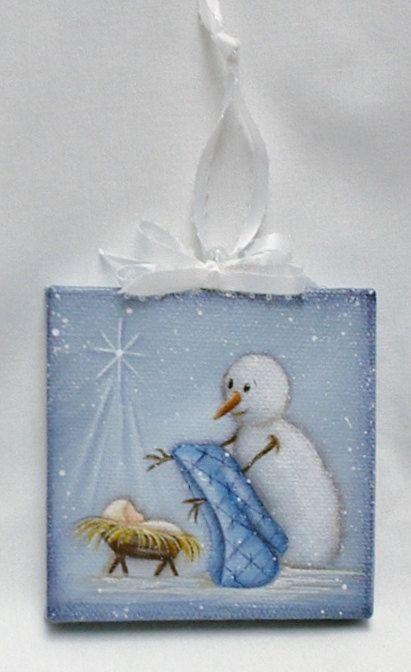 Mijn hand beschilderde mini doek is een Bess Daniel ontwerp. Ik hou gewoon van dit schilderij van een sneeuwpop zijn sjaal geven het kindje Jezus. Het is het seizoen voor geven. Geschilderd op een 3 x 3 miniatuur doek. Verzegeld met satin vernis, ondertekend en gedateerd door mij op de rug. Dank u voor kijken naar mijn werk.