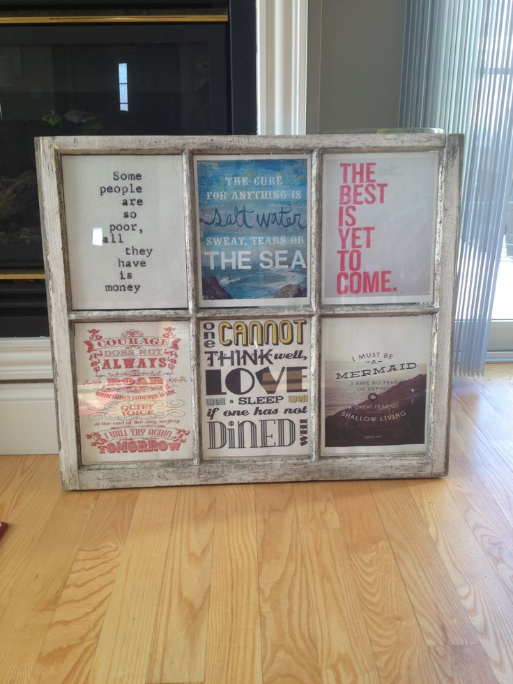 Window pane wall art + Pinterest quotespiration made for my living room!