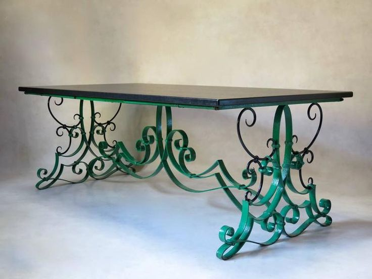 French 1940s Wrought Iron and Slate Extending Dining Table 2