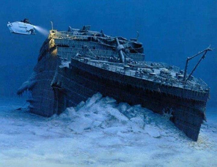 Titanic under water.
