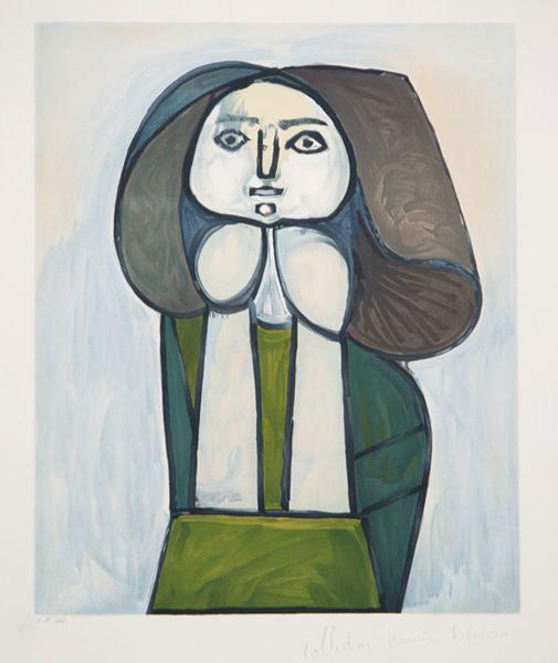 Artist: Pablo Picasso Title: Portrait de Femme a la Robe Verte Year of Original: 1946 Year of Publication: 1979-1982 Medium: Lithograph on Arches Paper Edition: 500, 34 AP's Paper Size: 29 x 22 inches Ref #: 24-6