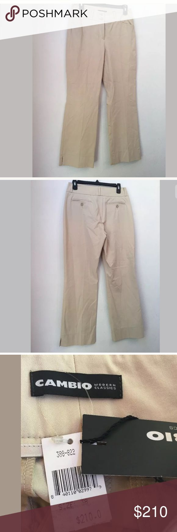 NWT $210 CAMBIO Kristin Cotton Blend Beige Pants 8 NWT $210 CAMBIO C16 Kristin Cotton Blend Beige Pants Size 8  Your satisfaction is our #1 priority.  This is why we ship twice daily Monday thru Saturday to get the item to you as quickly as possible!! :).  If for any reason you are not 100% satisfied please message us and we will work with you to make it right!!      Measurements: Waist: approx. 29 inches Inseam: approx. 27 inches  -Retails Price: $210 + TAX -Material: 92% Cotton, 8%…