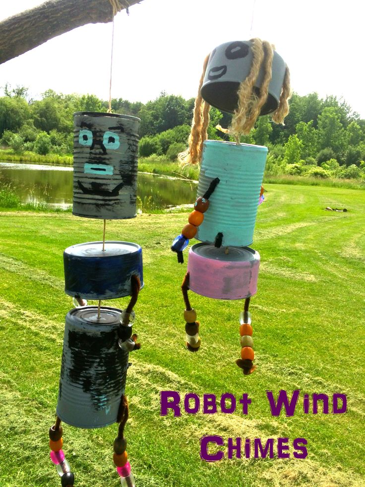 Robot Wind Chimes - Robot activities for kids - Green Kid Crafts