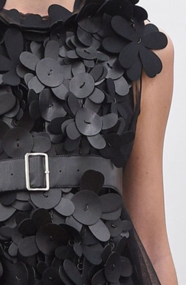 Textured Embellishment - leather flower applique dress; sewing; close up fashion detail // Noir Kei Ninomiya Spring 2016