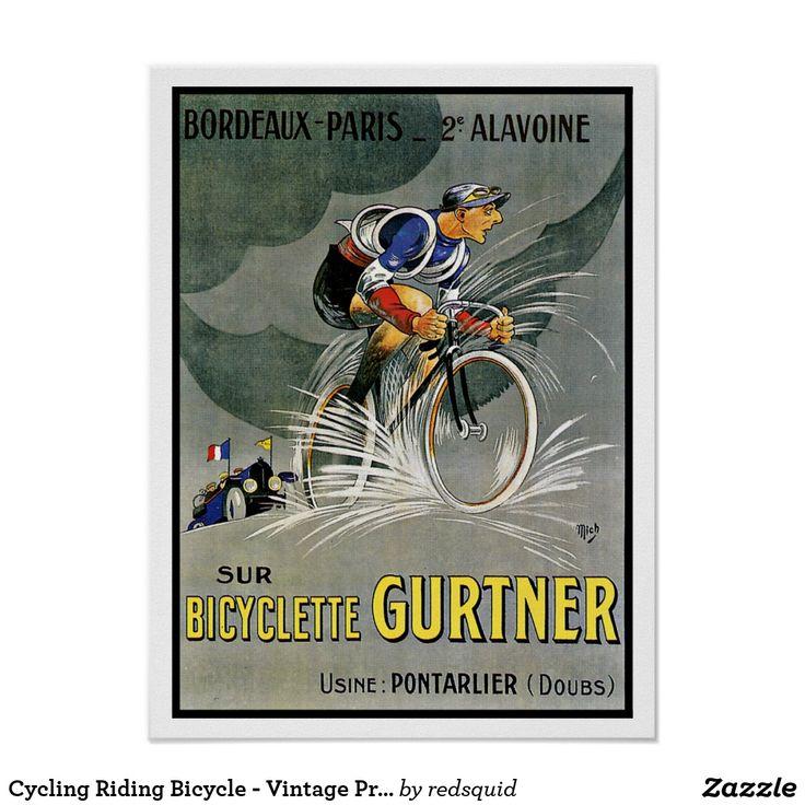 Cycling Riding Bicycle - Vintage Print