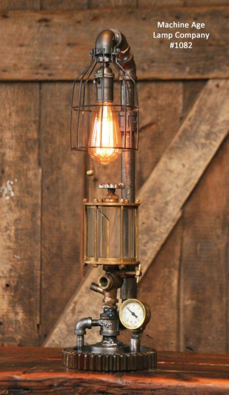 Steampunk Lamp Industrial Machine Age Steam Gauge Light Gear Boiler Oiler