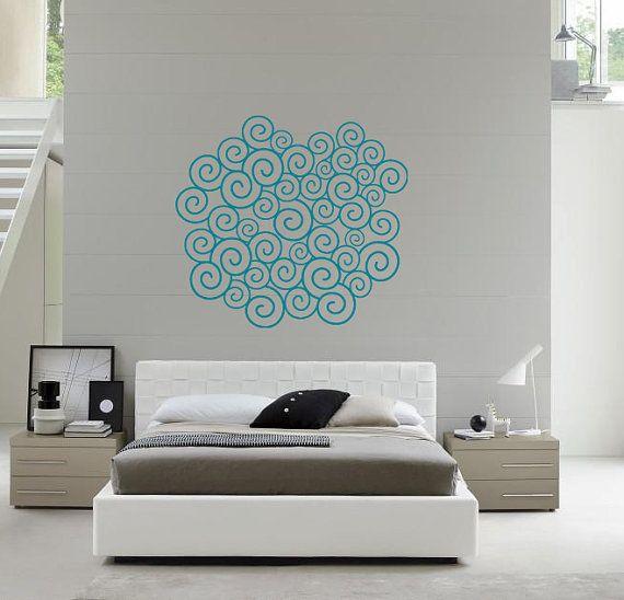 Wall Art – Waves pattern vinyl wall decal / sticker / mural removale wall decor