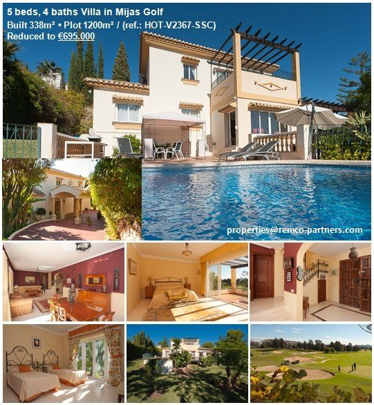 5 beds, 4 baths Villa in Mijas Golf Originally listed for €999,500, recently reduced to €695,000 for a quick sale. A stunning south-facing villa, occupying a prime frontline golf location in an exclusive and prestigious area. Completely enclosed within beautiful landscaped gardens, with swimming pool, covered terraces and separate games or entertainment room. Walking distance to restaurants, shops and a luxury hotel.  More details: properties@remco-partners.com