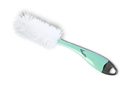 NUK Goupillon 2 en 1 Double Fibres Bleu Turquoise: Brosse double fibres assurant une double efficacité de nettoyage Tête dure pour nettoyer…