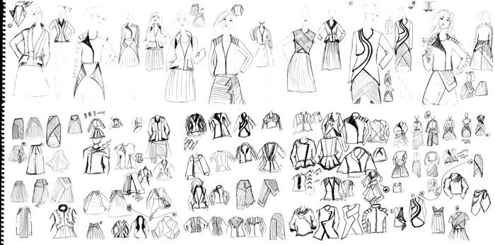Rough sketches for design challenge for the BConnected Conference Outfit. Learn more about the design challenges at www.duellingdesigns.com