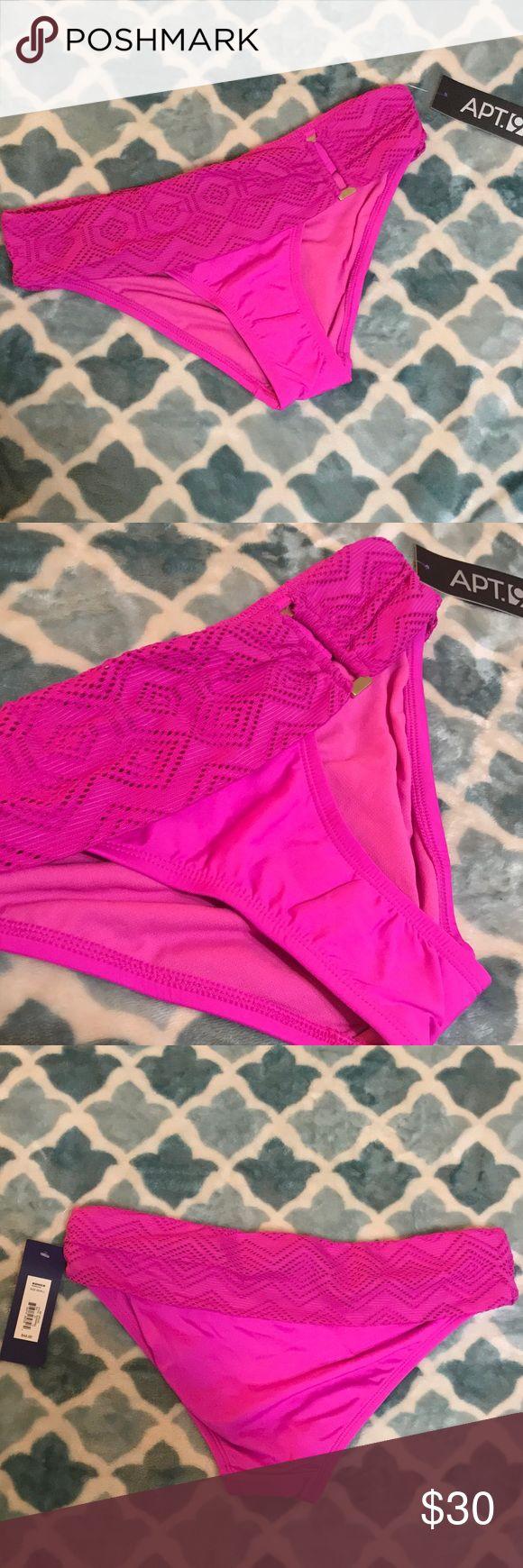 "NWT Apt 9 Orchid bright purple bikini bottom small NWT Apt 9 Orchid bright purple bikini bottom, size small. Self: 84% nylon 16% spandex Lining: 100% Polyester Contrast: 90% Nylon 10% Spandex. All measurements are approximate, 30"" waist Apt. 9 Swim Bikinis"