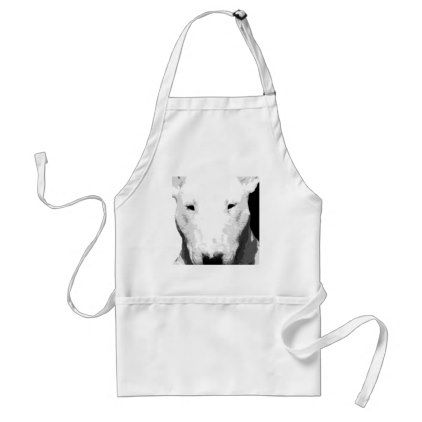 A black and white Bull terrier Adult Apron - black and white gifts unique special b&w style