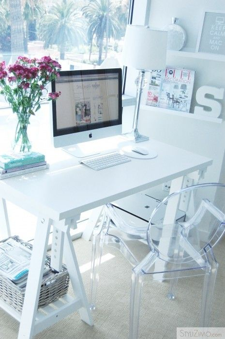 white styled: Clear white work spaces