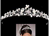 Braut Kristall Diadem Strass Perlen Krone Haarband für Hochzeit