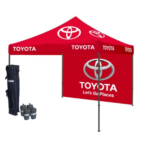 The #popupLogotent with custom top and walls turn into a canvas for anyone's viewing pleasure by basically printing your Top and Walls with your logos or graphics. The custom popup tents are available to be purchased here at tent depot.