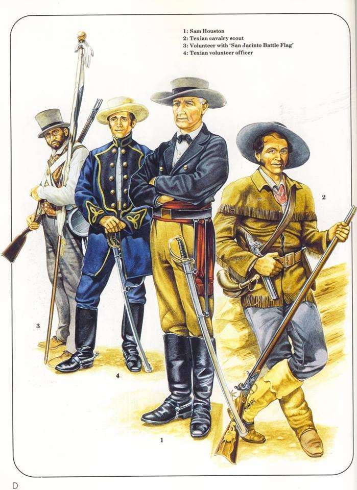 1:Sam Houston.2:Texian cavalry scout.3:Volunteer with 'San Jacinto Battle Flag'.4:Texian volunteer officer.