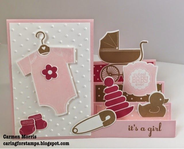 hand crafted card from Caring for Stamps: Mix 'n Up! ~ It's a girl ... side step card with baby stuff on the steps ... Stampin' Up!