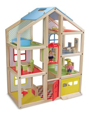 Hi-Rise Wooden Dollhouse and Furniture Set for Kids: Going up? Suitable for all 1:12-scale dolls, our newest play house invites pretend-play families to pull into the garage, ride in the elevator, and feel right at home in this modern home. Fresh, gender-neutral colors and patterns add a lively edge to the natural-wood frame, and open sides make it easy to access every room with ease - so it's easy to share the fun with brothers, sisters, and friends! *Perfect holiday gift...