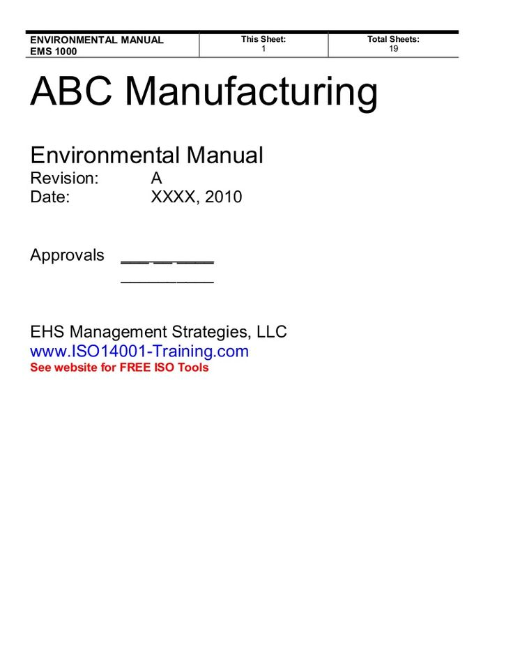 ISO 140012015 EMS Manual preview 14001 Pinterest - sample quality manual template