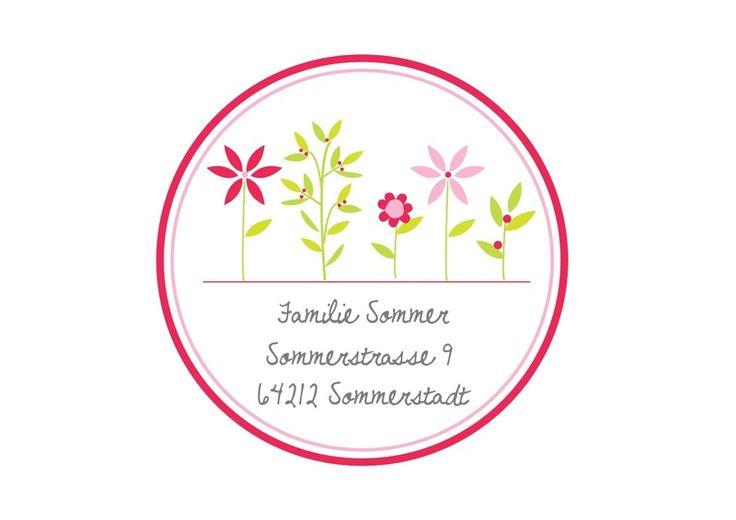 24 persönliche Adressaufkleber Sticker Sommerblume von Lottes Laden auf DaWanda.com