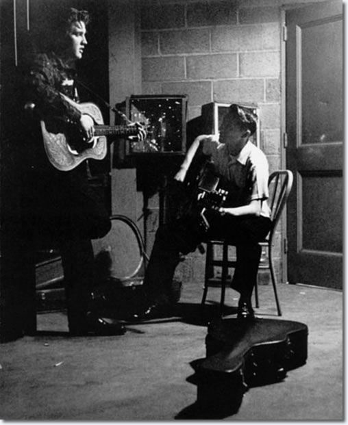 Elvis Presley and Scotty Moore between shows in the UD Fieldhouse  in Dayton- May 27, 1956.