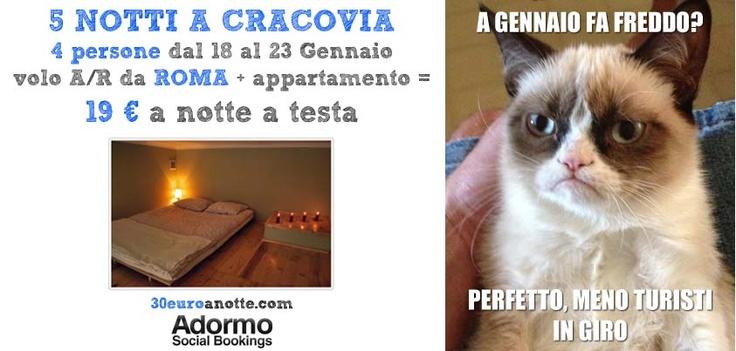 A CRACOVIA DA ROMA, 4 persone per 5 notti, volo A/R da Roma + appartamento: 19 € a notte a testa!