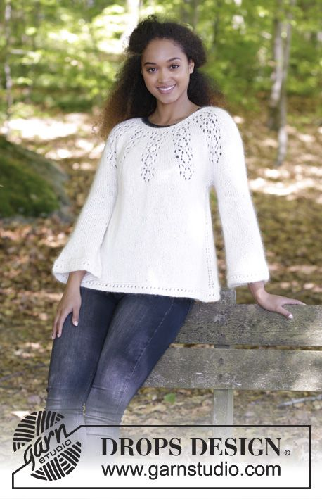 Nineveh Jumper - Jumper with round yoke, lace pattern and A-shape, knitted top down. Size: S - XXXL Piece is worked in DROPS Baby Merino and DROPS Kid-Silk.  Free knitted pattern DROPS 179-8