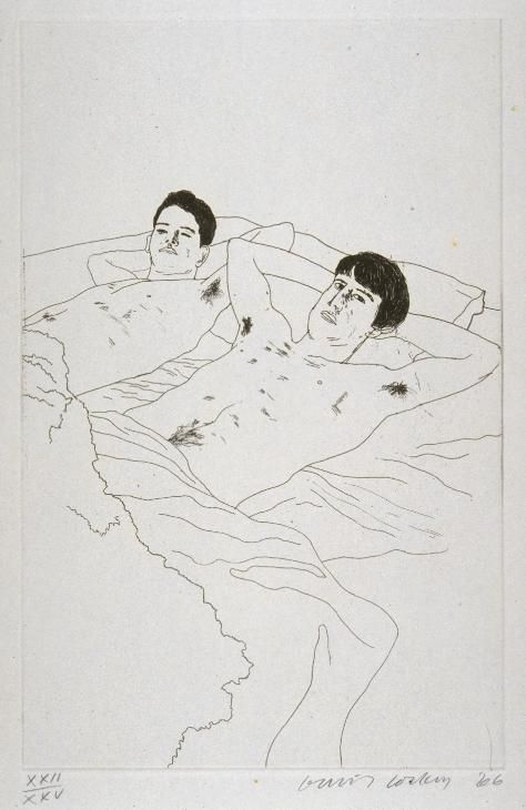 """David Hockney: 'In Despair' from """"14 Poems of Cavafy"""", 1966 (etching and aquatint on paper)"""