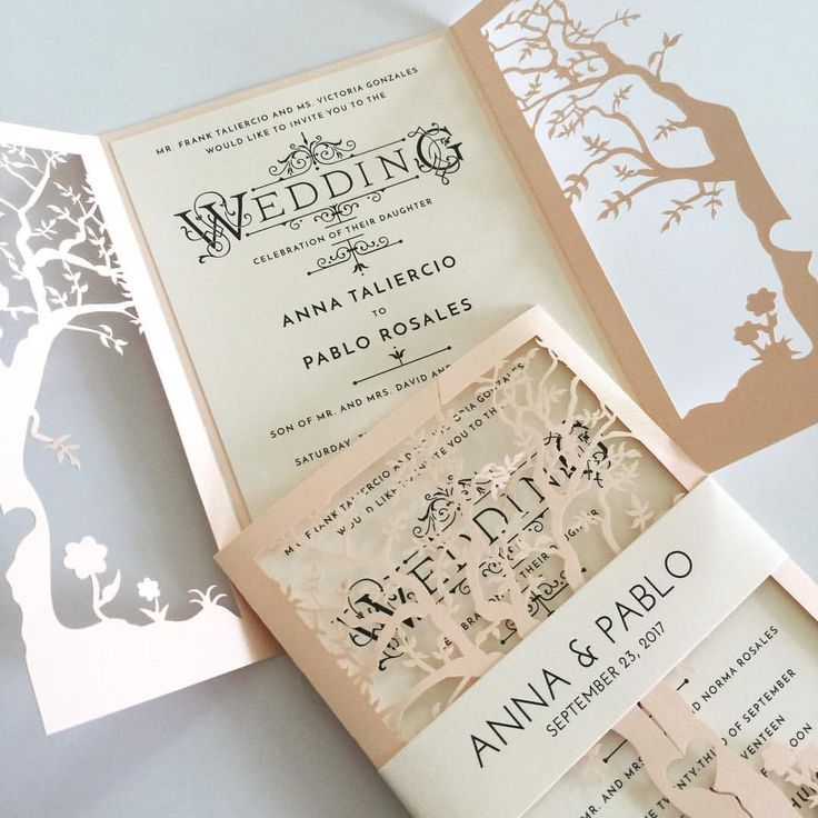 Getting married in the fall? Check out these laser cut tree wedding invitations.