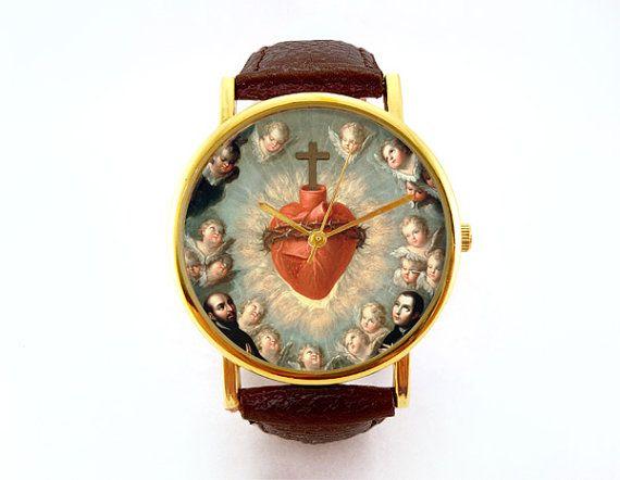 Hey, diesen tollen Etsy-Artikel fand ich bei https://www.etsy.com/de/listing/198263380/heiliges-herz-von-jesus-watch-religios