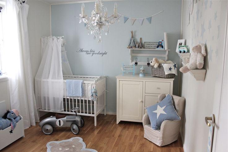 babykamer blauw wit voor jongetje
