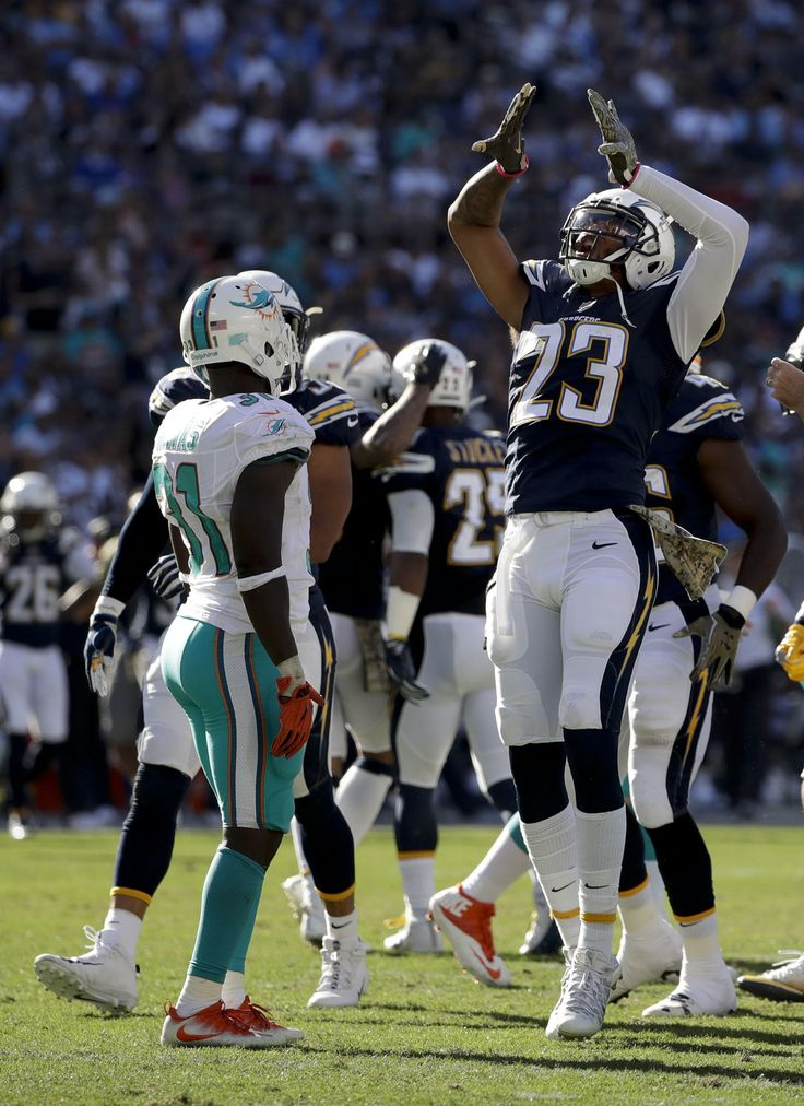 Dolphins vs. Chargers:  31-24, Dolphins  -  November 13, 2016  -    Dexter McCoil celebrates after a tackle against the Miami Dolphins during the first half of an NFL football game in San Diego, Sunday, Nov. 13, 2016. (AP Photo/Gregory Bull) AP, GREGORY BULL
