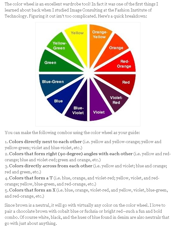 Fashion color wheel.  For all you ladies & gents wanting to put outfits together, use this tool!