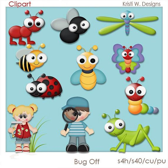 VISIT www.clipart-central.com AND USE COUPON CODE 219401fc79 FOR 25% OFF YOUR FIRST ORDER!    BUG OFF IS A DIGITAL CLIPART SET.  THIS SET CONTAINS 13
